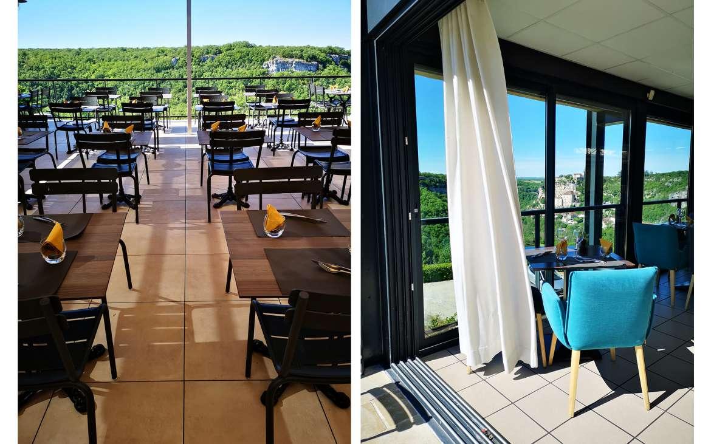 Déjeuner face à la Vallée de l'Alzou et à la Cité de Rocamadour