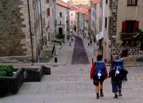 Pèlerins prêts à prendre la route